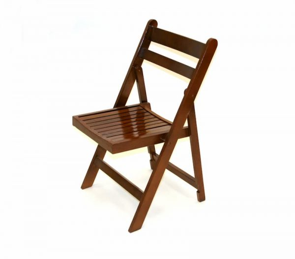 Ex Hire Brown Wooden Folding Chairs - BE Furniture Sales