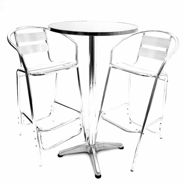 Aluminium High Poseur Table & 2 Aluminium Bar Stools - BE Furniture Sales