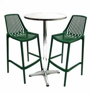 Aluminium High Table & 2 Green Plastic Bar Stools - BE Furniture Sales