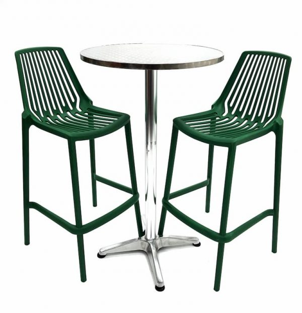 Aluminium Poseur Table & 2 Green Plastic Bar Stools - BE Furniture Sales