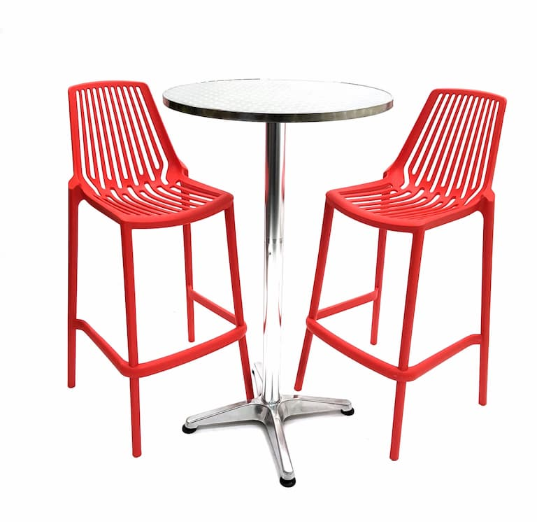 Aluminium High Poseur Table & 2 Red Plastic Bar Stools - BE Furniture Sales