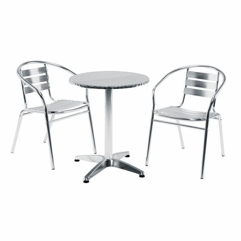 Aluminium Patio Set with 1 Round Pedestal Table & 2 Chairs - BE Furniture Sales