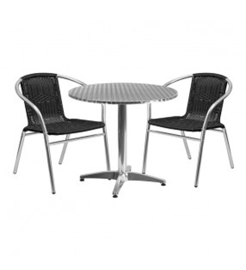 Aluminium Round Table & 2 Black Rattan Chairs Set - BE Furniture Sales