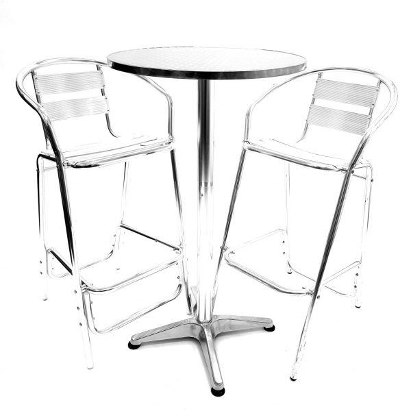 Aluminium High table and stools