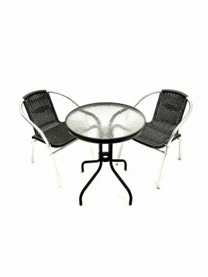 Black and Glass Table and 2 Black Rattan Chairs - BE Furniture Sales
