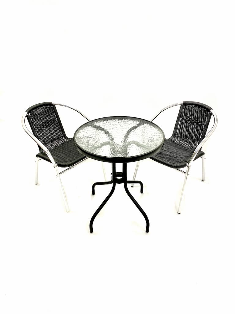 Round Glass Table & 2 Black Rattan Chairs - BE Furniture Sales