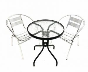 Glass Round Table & 2 Aluminium Chairs Set - BE Furniture Sales
