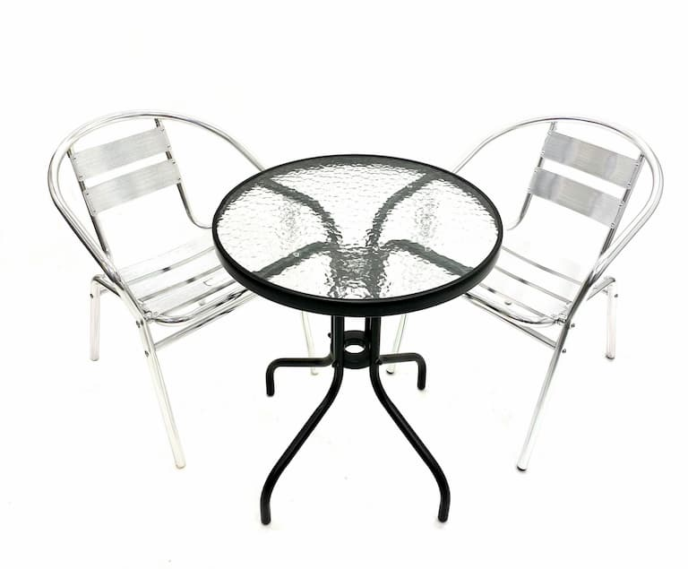 Glass Table & 2 Aluminium Chairs Set - BE Furniture Sales