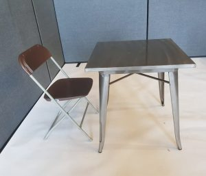 Square Tolix Table & 1 Brown Plastic Folding Chair - BE Furniture Sales
