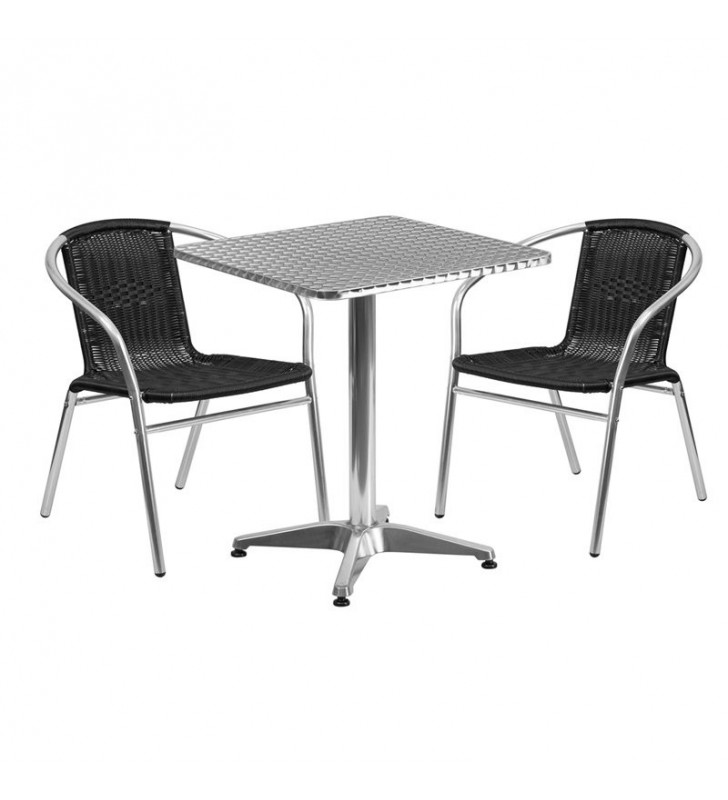 Aluminium Square Table & 2 Black Rattan Chairs Set - BE Furniture Sales