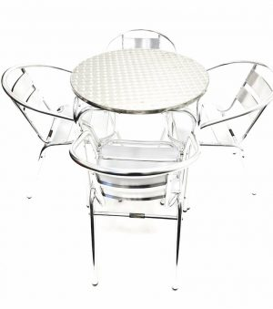 Round Aluminium Garden Table & 4 Aluminium Chairs Set - BE Furniture Sales
