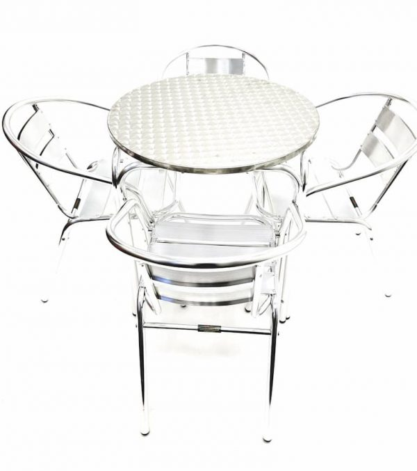 4 x Aluminium Bistro Chairs & Round Aluminium Table - BE Furniture Sales