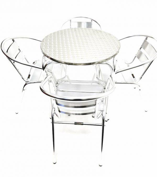 Round Aluminium Garden Table & 4 Aluminium Chairs Set - BE Furniture Sales