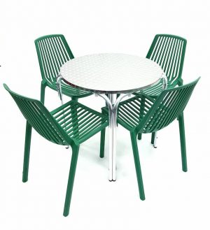 Round Aluminium Table & 4 Green Stacking Chairs Set - BE Furniture Sales
