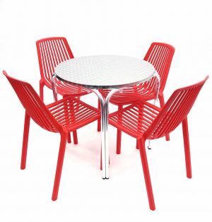 Round Aluminium Table & 4 RED Stacking Chairs Set - BE Furniture Sales