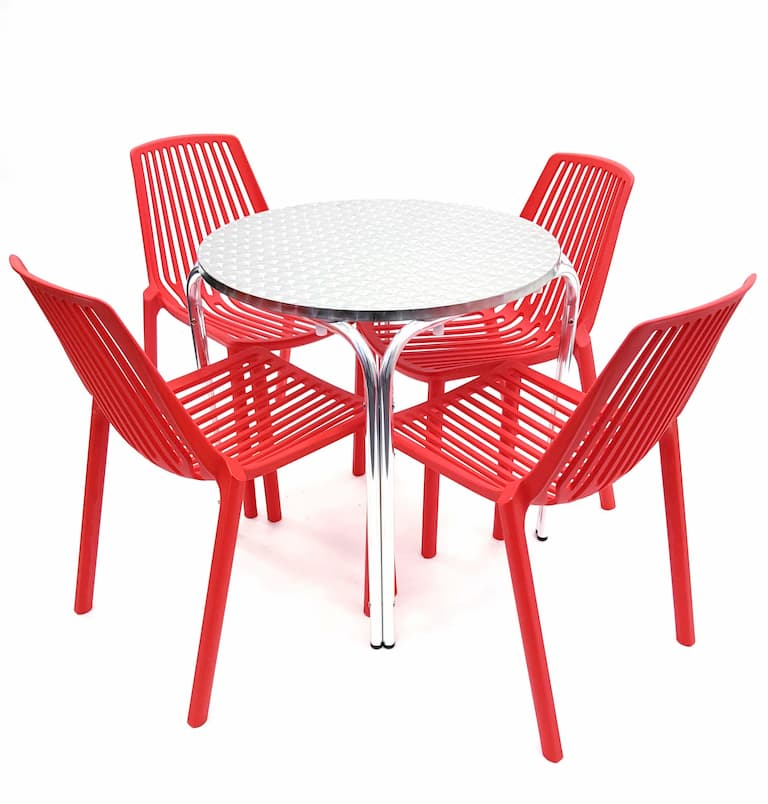 Round Aluminium Garden Table & 4 Red Chairs Set - BE Furniture Sales