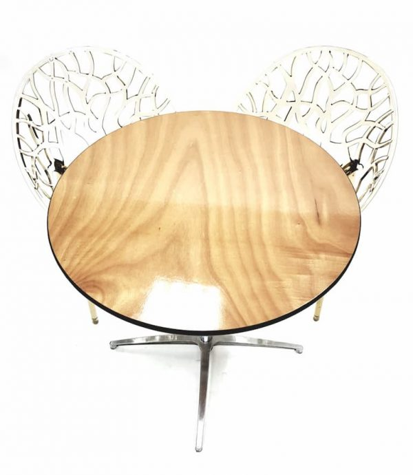 Round Dual Height Varnished Wood Table & 2 Amber Chairs Set - BE Furniture Sales
