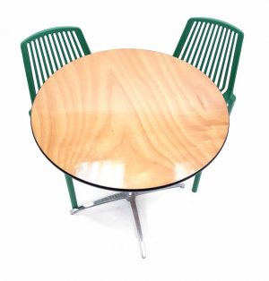 Round Dual Height Varnished Wood Table & 2 Green Lisbon Chairs Set - BE Furniture Sales
