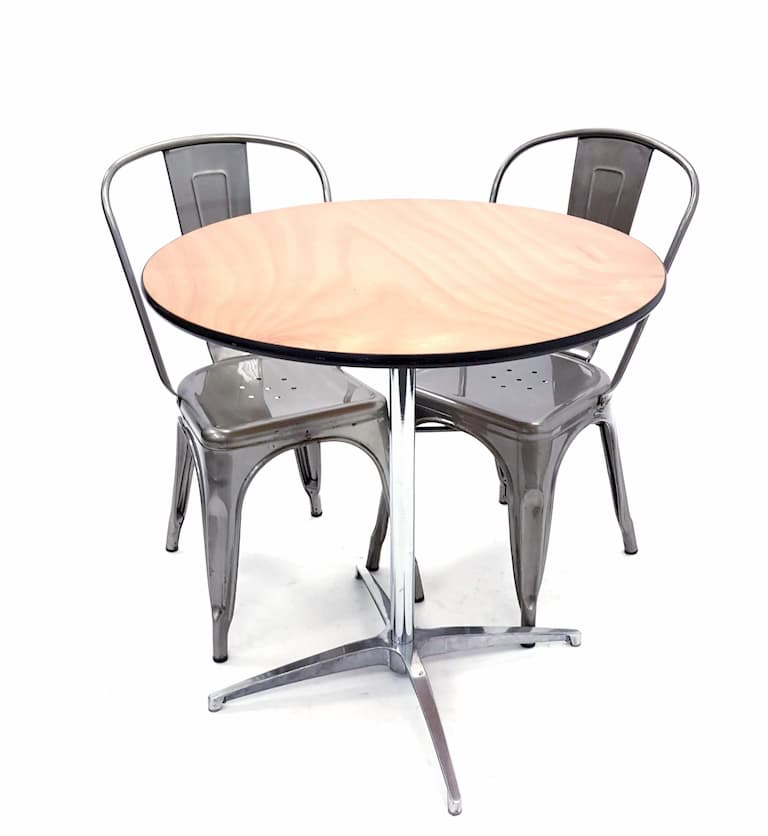 Round Dual Height Varnished Wood Table & 2 Silver Tolix Chairs Set - BE Furniture Sales