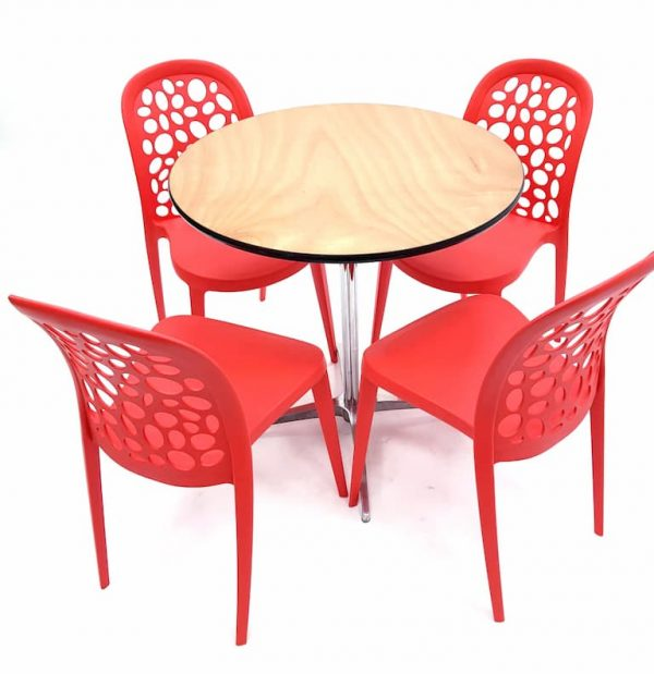 Round Dual Height Varnished Wood Table & 4 Contemporary Roma Red Chairs Set - BE Furniture Sales