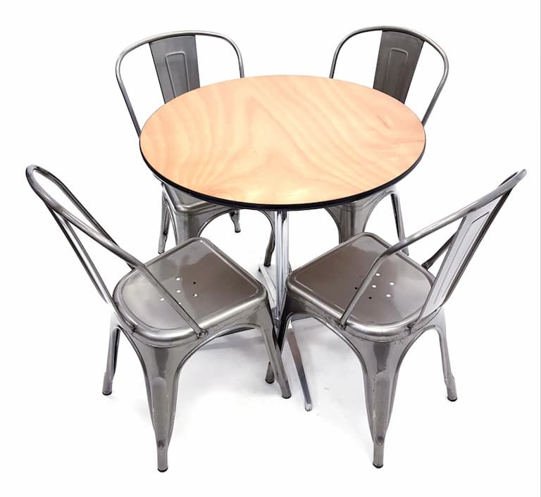 Round Dual Height Varnished Wood Table & 4 Silver Tolix Chairs Set - BE Furniture Sales