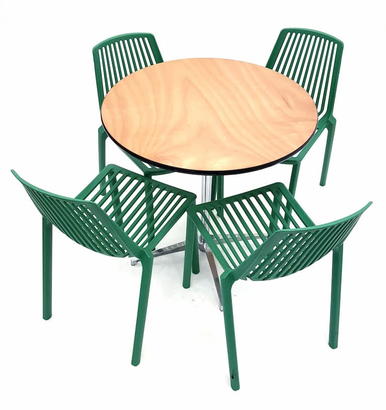 Round Dual Height Varnished Wood Table & 4 Green Lisbon Chairs Set - BE Furniture Sales
