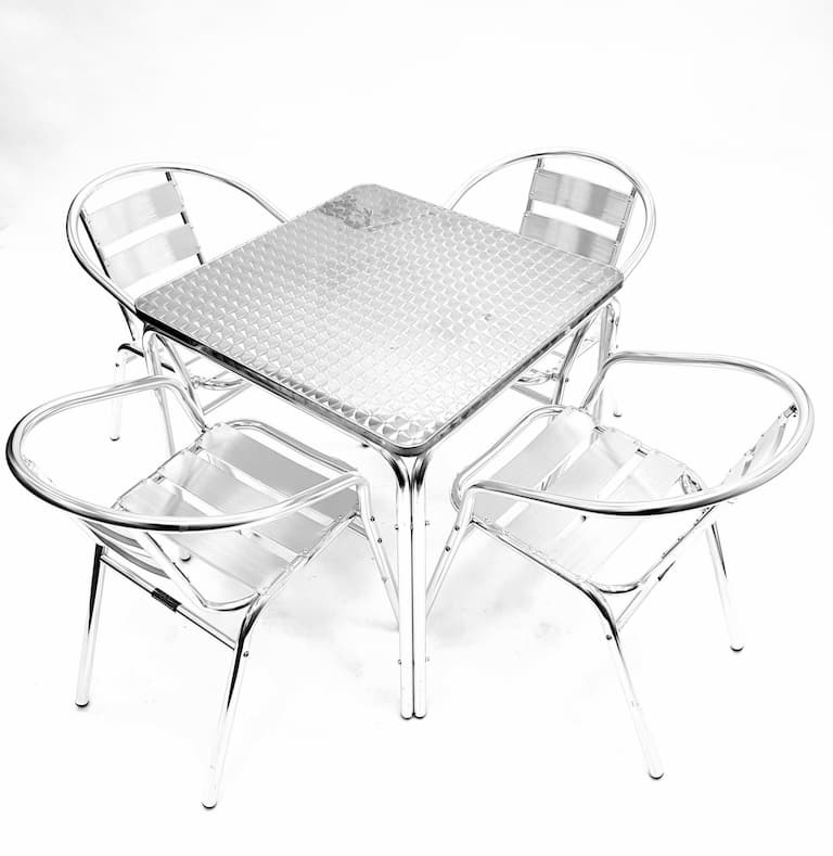 Square Aluminium Garden Table & 4 Aluminium Chairs Set - BE Furniture Sales