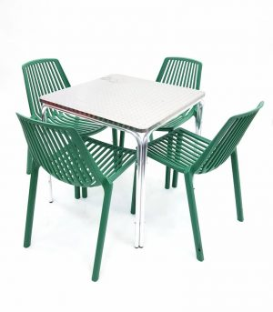 Square Aluminium Table & 4 GREEN Stacking Chairs Set - BE Furniture Sales