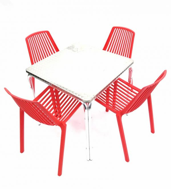 Square Aluminium Table & 4 RED Stacking Chairs Set - BE Furniture Sales