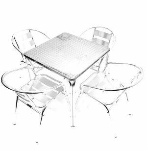 70 cm Square Aluminium Table & 4 Aluminium Chairs - BE Furniture Sales