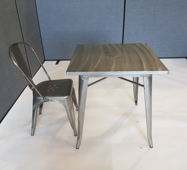 Metal Tolix Square Table & 1 Silver Tolix Chair - BE Furniture Sales