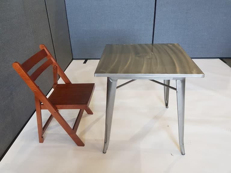 Metal Tolix Square Table & 1 Wooden Folding Chair - BE Furniture Sales