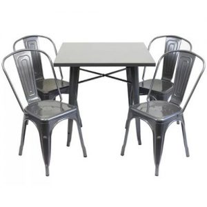 Silver Metal Tolix Sets - 4 tolix chairs & 1 table - BE Furniture Sales