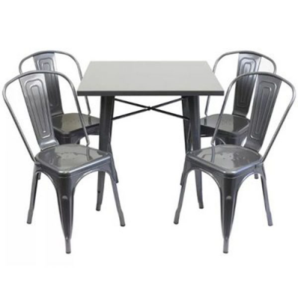Silver Metal Tolix Table & 4 Chair Sets - BE Furniture Sales