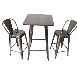 Tolix Bar Table & 2 Silver Tolix Bar Stools - BE Furniture Sales