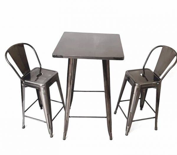 Tolix Silver High Poseur Table & 2 Silver Tolix Bar Stools - BE Furniture Sales