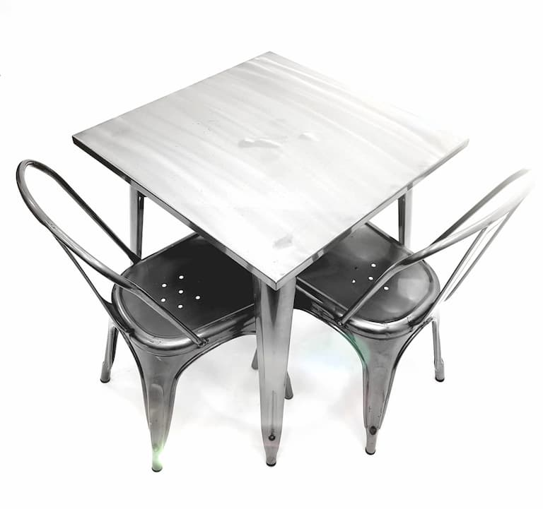 Gunmetal Silver Tolix Style Table and 2 Matching Chairs - BE Furniture Sales