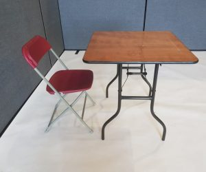 Varnished Wood Table & 1 Red Folding Chair - BE Furniture Sales