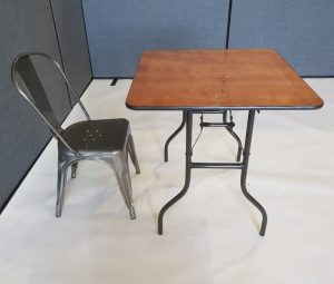Varnished Wood Table & 1 Silver Metal Tolix Chair - BE Furniture Sales