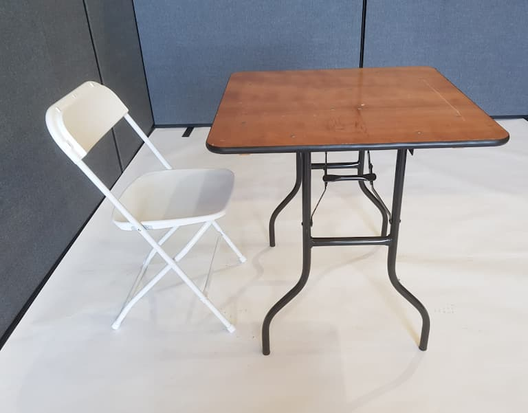Varnished Wood Square Table & 1 White Folding Chair - BE Furniture Sales