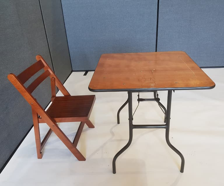 Varnished Wood Square Table & 1 Wooden Folding Chair - BE Furniture Sales