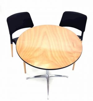 Round Dual Height Varnished Wood Table & 2 Contemporary Black Chairs Set - BE Furniture Sales