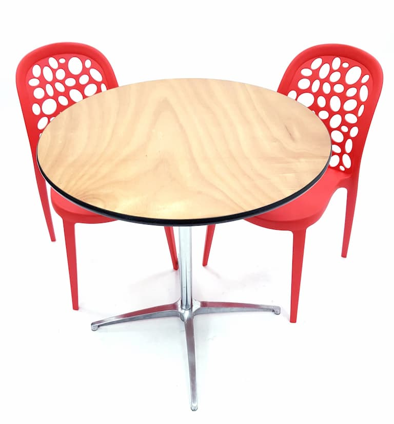 Round Dual Height Varnished Wood Table & 2 Contemporary Roma Red Chairs Set - BE Furniture Sales