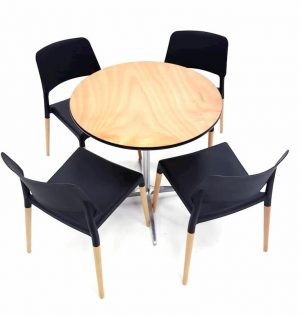 Round Dual Height Varnished Wood Table & 4 Contemporary Black Chairs Set - BE Furniture Sales