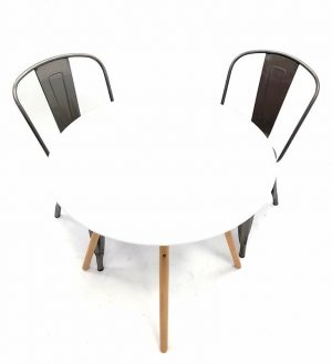 White Pyramid Table & 2 Stacking Silver Tolix Chairs Set - BE Furniture Sales