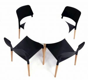 White Round Pyramid Table & 4 Black Contemporary Madrid Chairs Set - BE Furniture Sales
