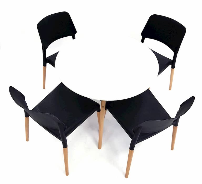 White Round Pyramid Table & 4 Black Madrid Chairs Set - BE Furniture Sales