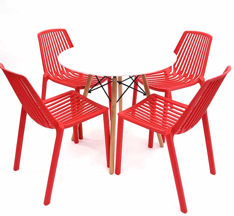 White Round Pyramid Table & 4 Stacking Red Chairs Set - BE Furniture Sales