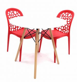 White Round Pyramid table & 2 Red Roma Contemporary Chairs Set - BE Furniture Sales