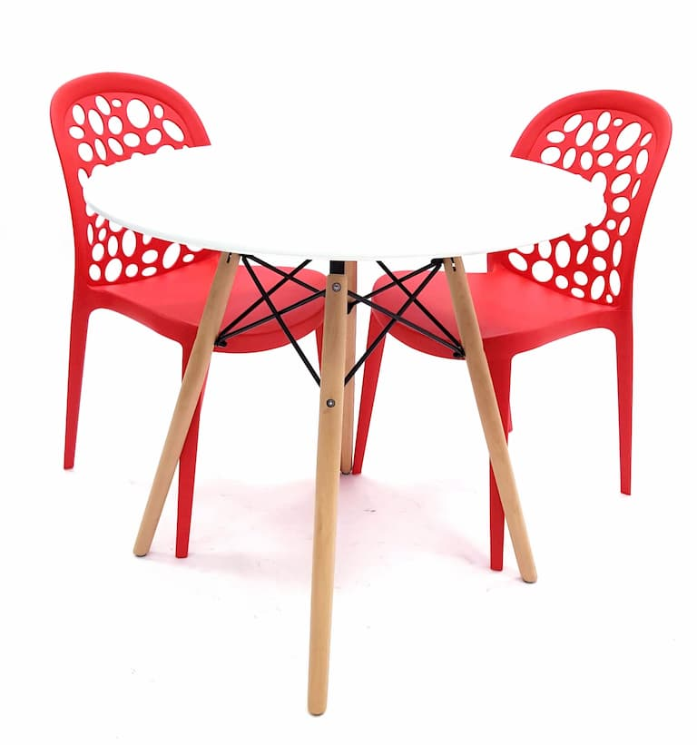 White Round Pyramid Table & 2 Red Roma Chairs Set - BE Furniture Sales